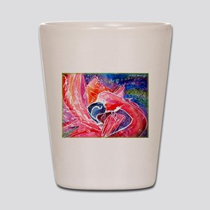 Flamingo, bright, art, Shot Glass