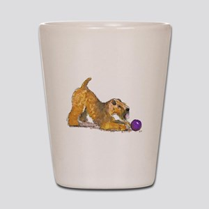Soft Coated Wheaten Terrier with Ball Shot Glass