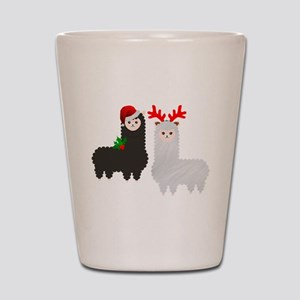 christmas reindeer alpacas Shot Glass