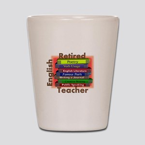 Retired English Teacher Book Stack Shot Glass