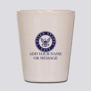 PERSONALIZED US Navy Blue White Shot Glass