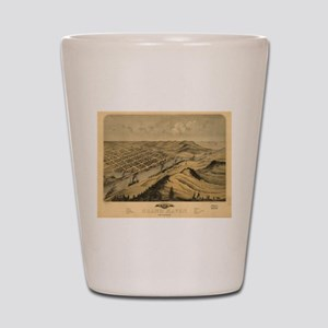Vintage Map of Grand Haven MI (1868) Shot Glass