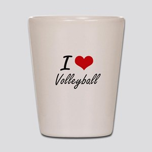 I Love Volleyball artistic Design Shot Glass