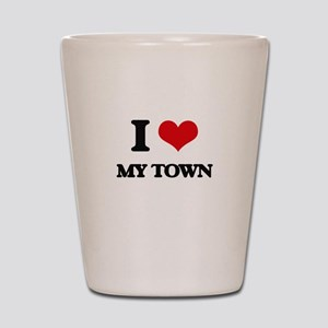 I love My Town Shot Glass