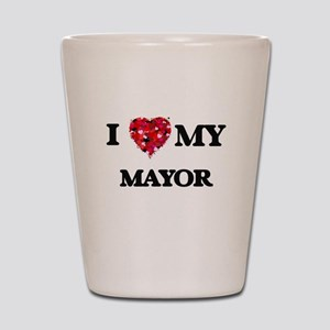 I love my Mayor hearts design Shot Glass