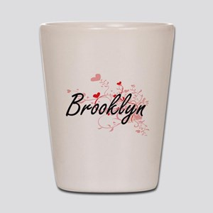 Brooklyn Artistic Name Design with Hear Shot Glass