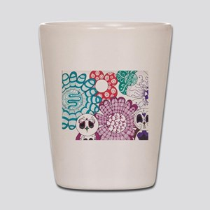 Zentangle Flower and Birds Shot Glass