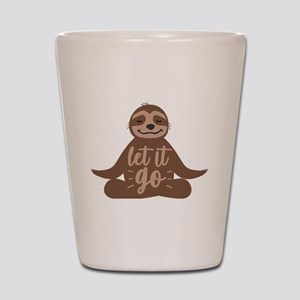 Sloth Lover Let it Go Yoga Sloth Medita Shot Glass