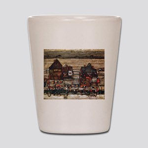 Egon Schiele Houses with laundry lines Shot Glass