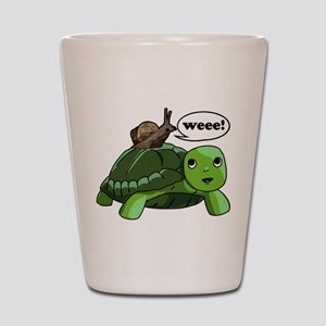 Snail Riding Turtle Shot Glass