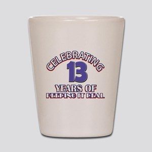 13 birthday design Shot Glass