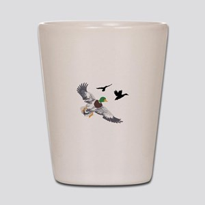 SMALL MALLARDS IN FLIGHT Shot Glass