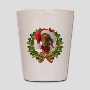Baby Boer Goat in Santa Hat Shot Glass