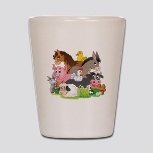 Cartoon Farm Animals Shot Glass