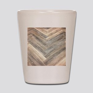 farmhouse geometric barn wood Shot Glass