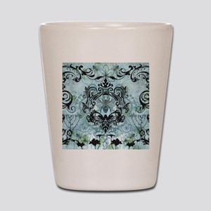 BeeFloralBluQduvet Shot Glass