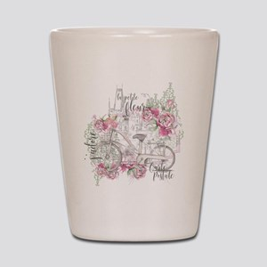 Shabby Chic Bicycle Peony Shot Glass