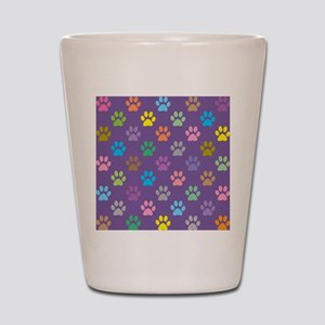 Colorful paw prints pattern Shot Glass