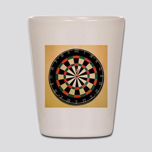 Dart in Bull's Eye on Dart Board Shot Glass