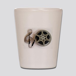Clef and Film Reel by Leslie Harlow Shot Glass