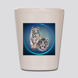 White Tigers -circle Shot Glass