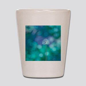 Dandelion with blue and green backgroun Shot Glass