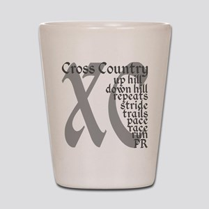 Cross Country XC grey gray Shot Glass
