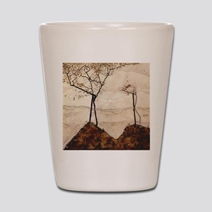Autumn Sun and Trees by Egon Schiele Shot Glass