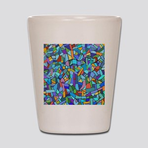Blue abstract mosaic Shot Glass