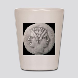 Ancient Coin Showing Janus Round Charm Shot Glass