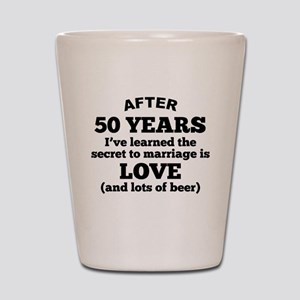 50 Years Of Love And Beer Shot Glass