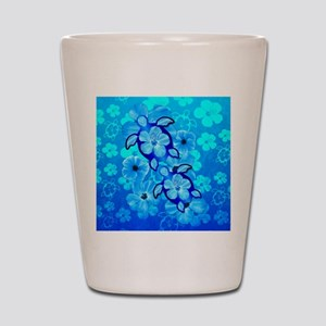 Blue Hibiscus Flowers And Sea Turtles Shot Glass
