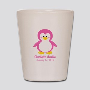 Pink Penguin with CUSTOM Name Birthdate Shot Glass