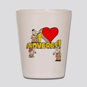 I Heart Adverbs Shot Glass