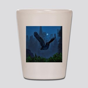 Owl In The Moonlight Shadow Shot Glass