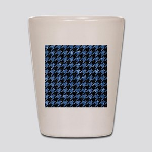 HOUNDSTOOTH1 BLACK MARBLE & BLUE MARBLE Shot Glass