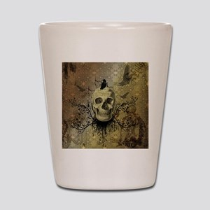 Skull and crow with floral elements Shot Glass