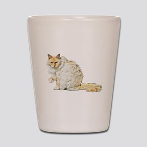 Bad kitty flipping the bird Shot Glass