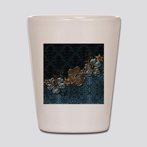Blue vintage design with flowers Shot Glass