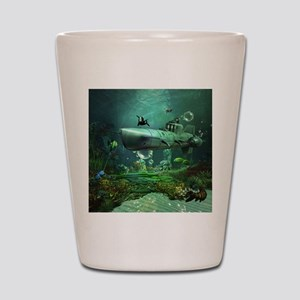 Awesome submarine with orca and dolphin Shot Glass
