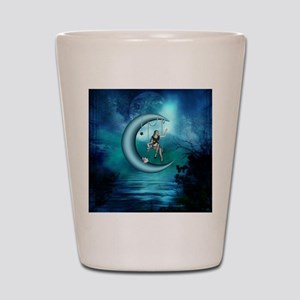 Fairy on a moon over the sea Shot Glass