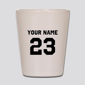 Customize sports jersey number Shot Glass