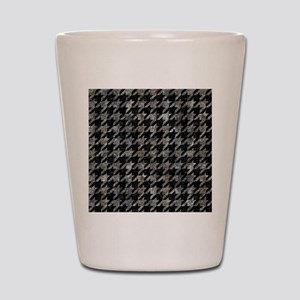 HOUNDSTOOTH1 BLACK MARBLE & GRAY STONE Shot Glass