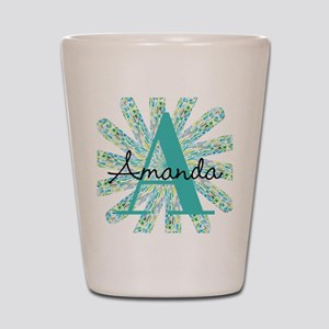 Teal Star Burst Monogram Personalize Initial, name