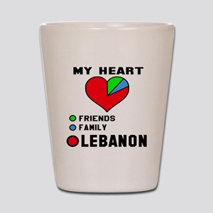 My Heart Friends, Family and Lebanon Shot Glass