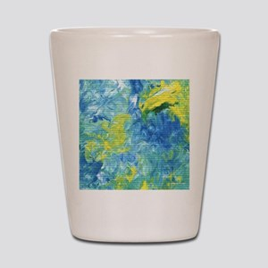Yellow and Blue Abstract Shot Glass