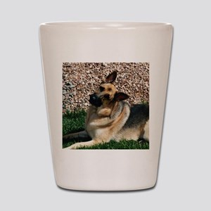 Quizzical German Shepherd Dog Shot Glass