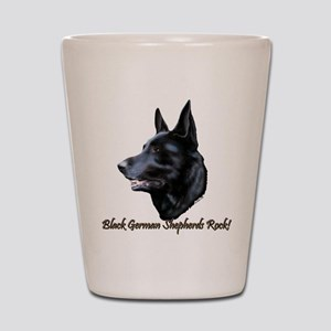 Black German Shepherds Rock Shot Glass