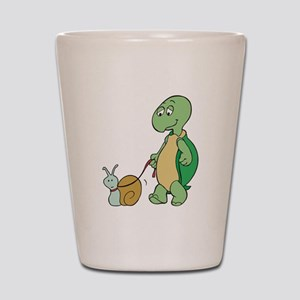 Turtle With Pet Snail Shot Glass