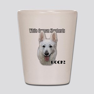 White German Shepherds Rock Shot Glass